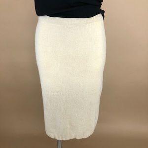 Vintage Silk Sweater Knit Fitted Cream Midi Skirt